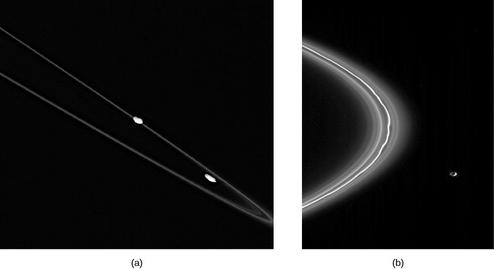 Image A is of a portion of the narrow rings of Saturn, showing the moons Pandora and Prometeus in the center and lower right. Image B is a closer view of the moon Pandora, next to the F ring.