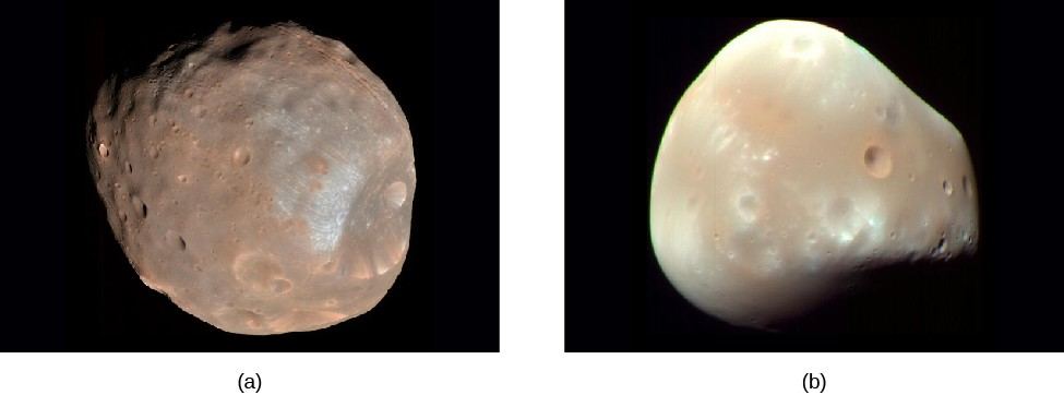 Images of Phobos and Deimos. Panel (a), at left, shows Phobos, a brownish,