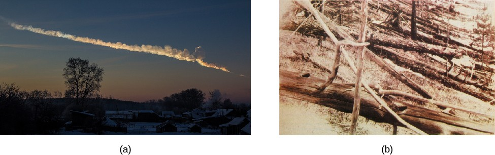 Impacts with Earth. Panel (a), at left, is a photograph of the smoke trail left in the upper atmosphere by the Chelyabinsk meteor in 2013. Panel (b), at right, is a photograph of the flattened landscape in Siberia after the Tunguska explosion in 1908.