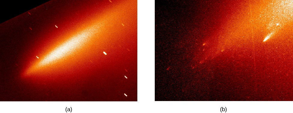 Breakup of Comet LINEAR. In panel (a), at left, LINEAR appears as a long diffuse streak of light. In panel (b), at right, the individual pieces can be seen, appearing like a swarm of mini-comets.