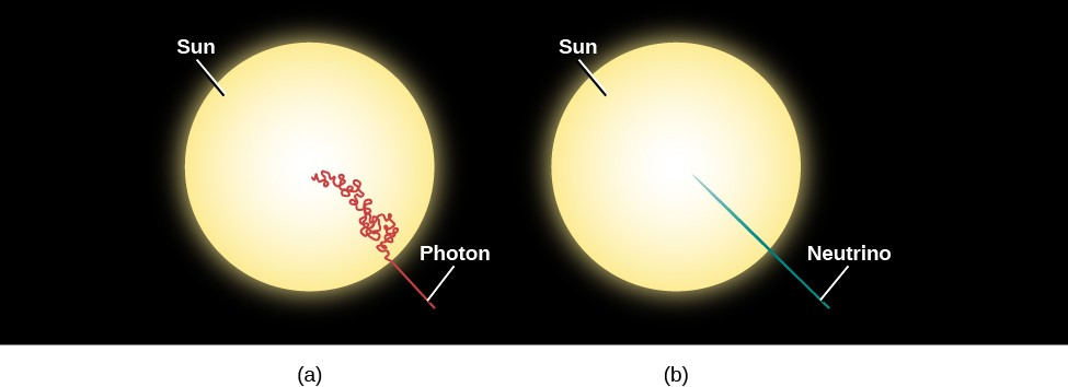 Diagram of Photon and Neutrino Paths in the Sun. At left, (a) shows the Sun as a yellow disk. Starting at the center of the Sun, the path of a photon is drawn in red and labeled
