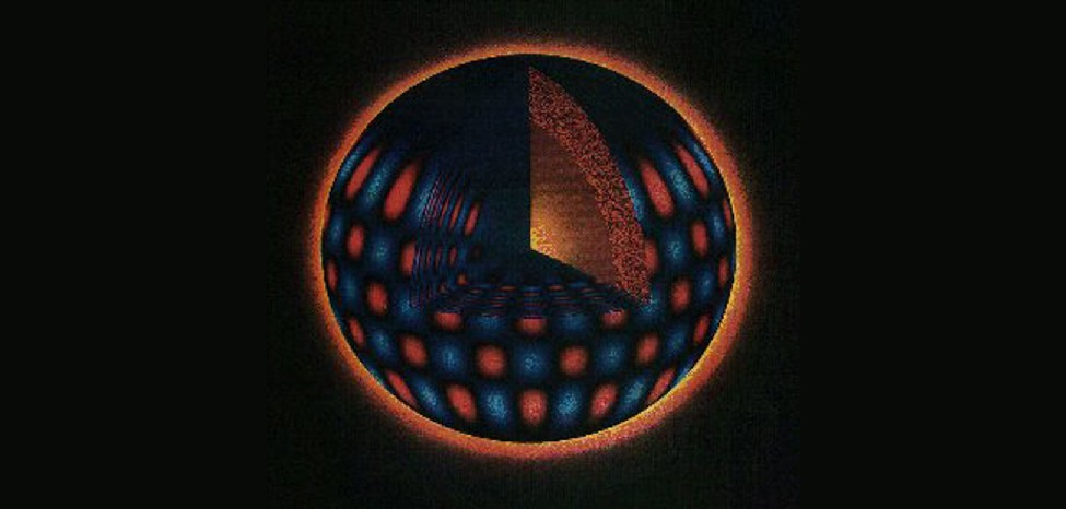 Computer Simulation of Oscillations in the Sun. In this spherical cutaway diagram of the Sun, a triangular wedge shaped portion has been removed from the upper half of the sphere to expose the interior, with surface features shown in the lower half of the diagram. Moving radially outward from the center of the sphere to the surface are alternating regions of red and blue.
