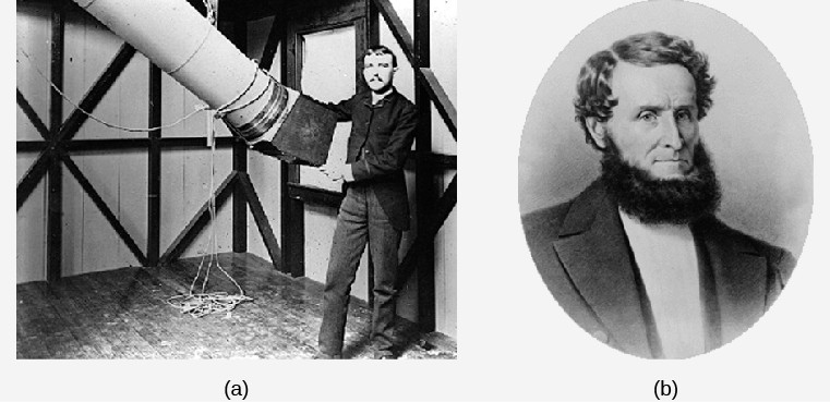 Photographs of: left (a) Henry Draper, and right (b) James Lick.