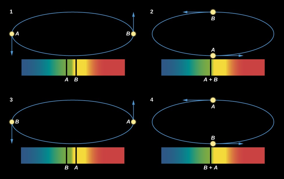 Motions of Two Stars Orbiting Each Other and What the Spectrum Shows. This figure has four binary star spectra, each with blue wavelengths on the left and red wavelengths on the right. Above each spectrum is a diagram showing the orbit of the two binary stars. Spectrum 1 has two spectral lines, one from each star. The lines for star B is roughly in the center of the spectrum, and the line for star A is a little to the left. The orbit shows the stars at opposite sides horizontally, with an arrow pointing down from star A and an arrow pointing up from star B, indicating that the stars are moving horizontally to our line of sight. In spectrum 2, both lines merge into one and the line is labeled