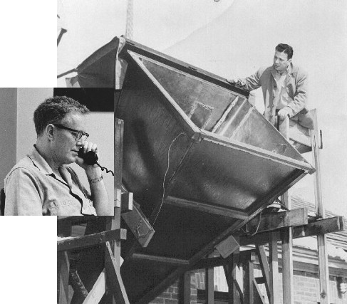 Photograph of Harold Ewen inspecting the horn antenna at Harvard. Inset: photograph of Edward Purcell.