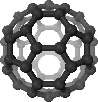 Artist's 3D Rendering of a Fullerene C60 Molecule. Carbon atoms are shown as black spheres, and the chemical bonds between them shown as black cylinders. The shape of the