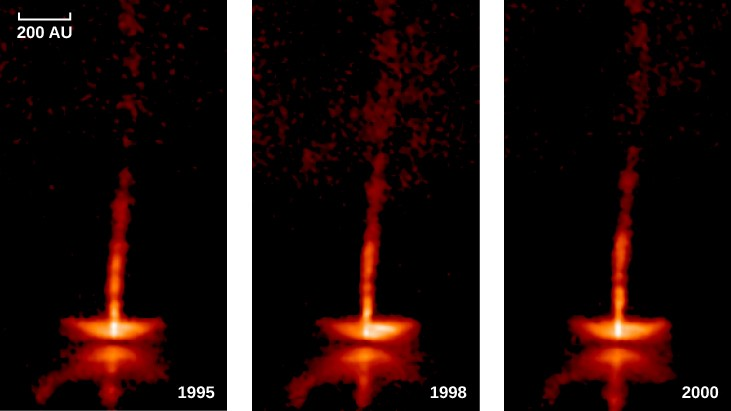 Image of Gas Jets Flowing Away from HH 34. This figure presents three images of HH 34, taken in 1995, 1998, and 2000. The appearance of the jets that propagate away from the protostellar disk has changed in each image as clumps of material move outward along the length of the jet.