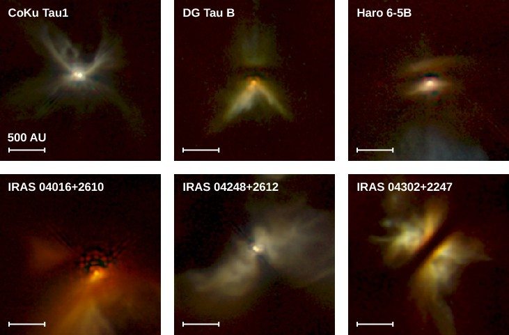 Disks around Protostars. This figure presents images of disks around the protostars CoKu Tau 1, DG Tau B, Haro 6-5B, IRAS 04016+2610, IRAS 04248+2612, and IRAS 04302+2247. A scale of 500 AU is shown on each image. The morphology is similar in each case: a butterfly-shaped nebula, crossed at the apex of the