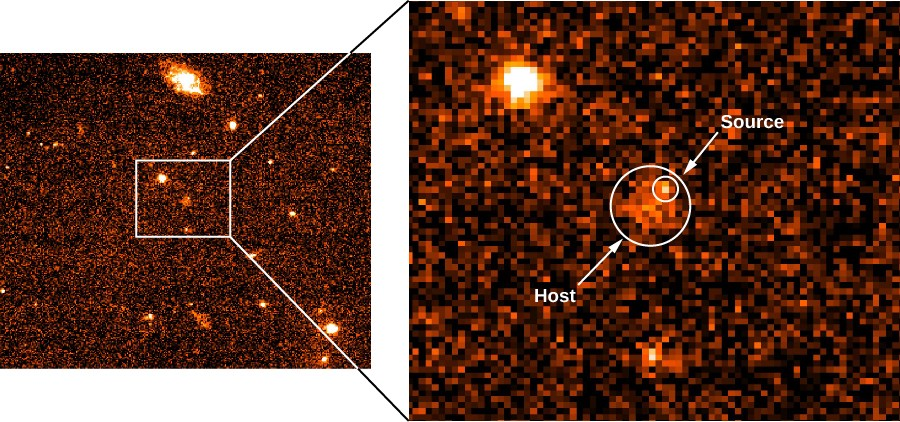 Afterglow of a Gamma Ray Burst. At left is an HST image of the region of the GRB, with the source galaxy indicated with a white box. At right, the enlargement shows the