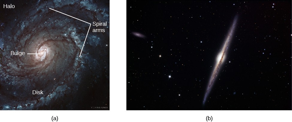 Two Views of Spiral Galaxies. In panel (a), at left, the face-on spiral M100 is shown with the major components labeled. At center is the