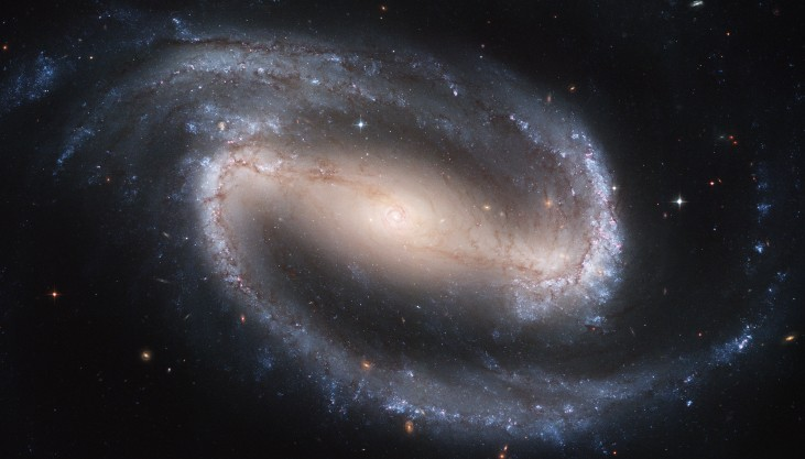 Barred Spiral Galaxy NGC 1300. Instead of the smooth, graceful arms that emerge from the nucleus of a spiral like M100, a barred spiral has straight, elongated structures on either side of the nucleus from which the curved arms originate.