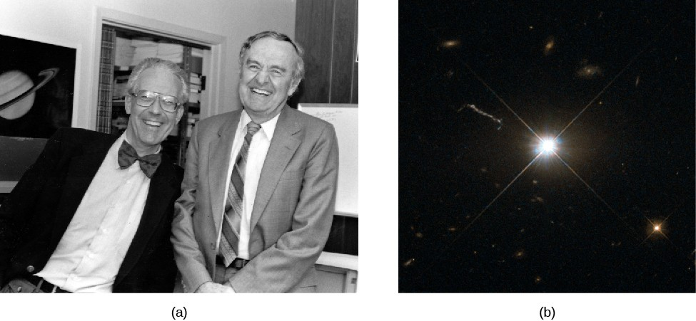 Panel a, at left, is a photograph of Maarten Schmidt (left) and Allan Sandage. Panel b, at right, is a photograph of 3C 273, which looks like an ordinary star.