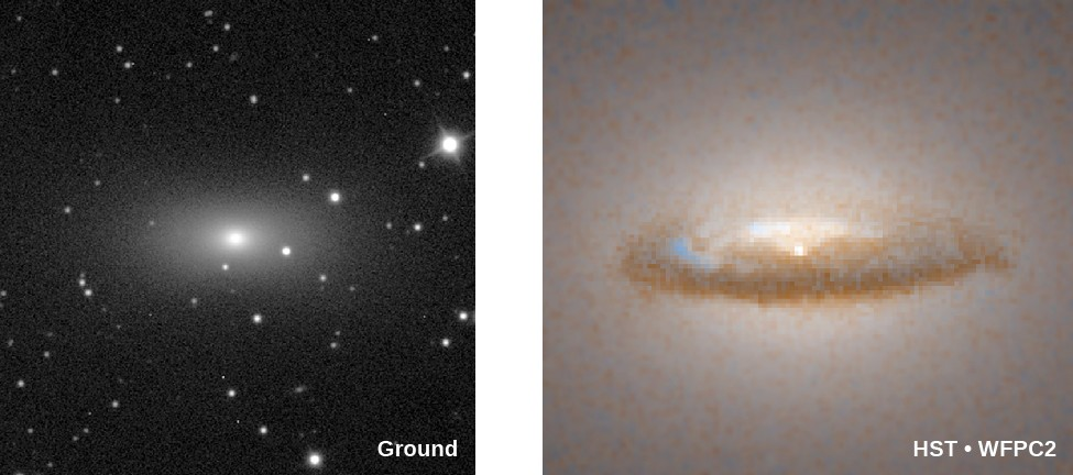 Galaxy with a Black-Hole Disk. In the ground based image at left, the galaxy NGC 7052 looks like a regular elliptical galaxy. At right, the high resolution HST image of the core of NGC 7052 shows a dark disk of material surrounding the bright nucleus at the center of the galaxy.