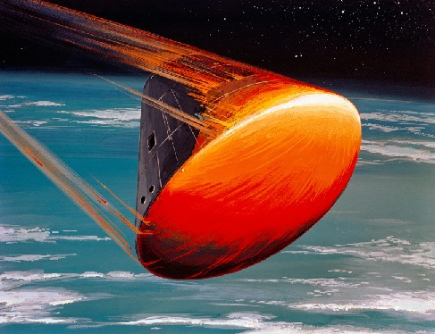 Friction in Earth's Atmosphere. In this illustration an Apollo era capsule is shown re-entering Earth's atmosphere. The motion of the craft is from upper left to lower right, with the rounded bottom of the craft glowing red-hot from the heat of re-entry.