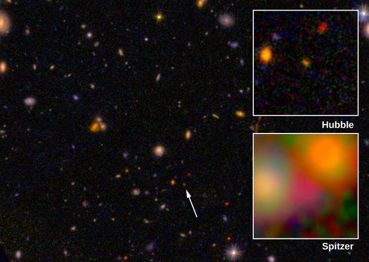 Very Distant Galaxy. This Hubble Space Telescope image shows a luminous galaxy (arrowed, below center) at z=8.68, corresponding to a distance of about 13.2 billion light years. The inset at top right, labeled