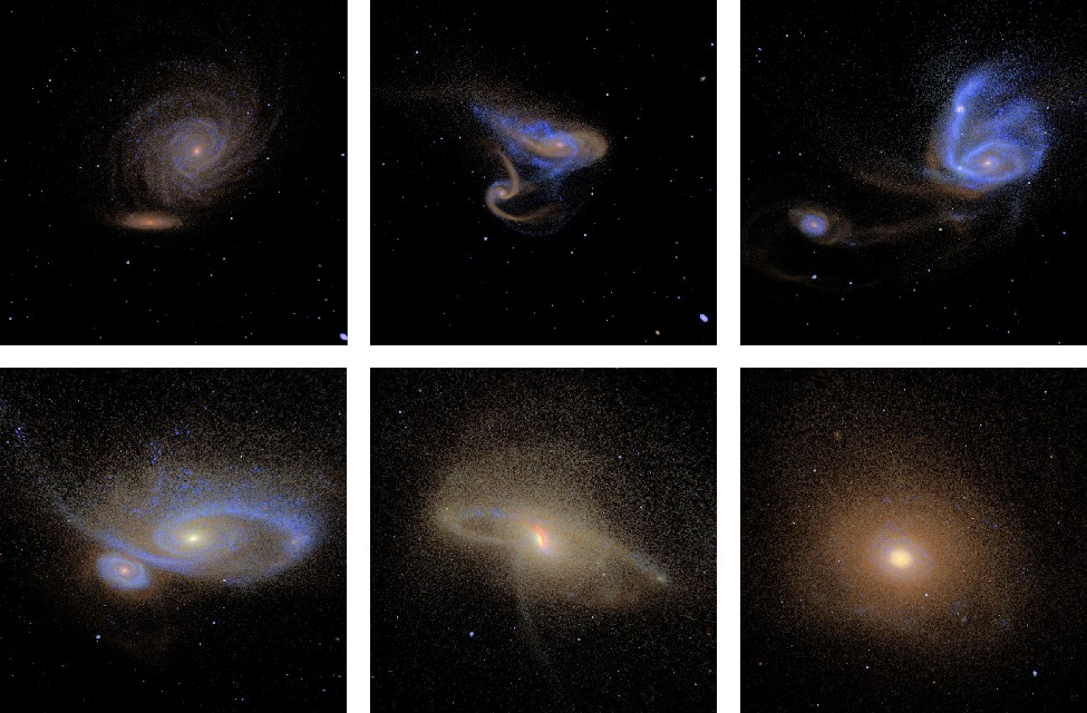 Computer Simulation of a Galaxy Collision. This computer simulation starts at upper left with two spiral galaxies in the process of merging. Moving from left to right the two galaxies become more and more distorted as the collision progresses. In the last panel at lower right, the two spiral galaxies have settled down into one large elliptical galaxy.