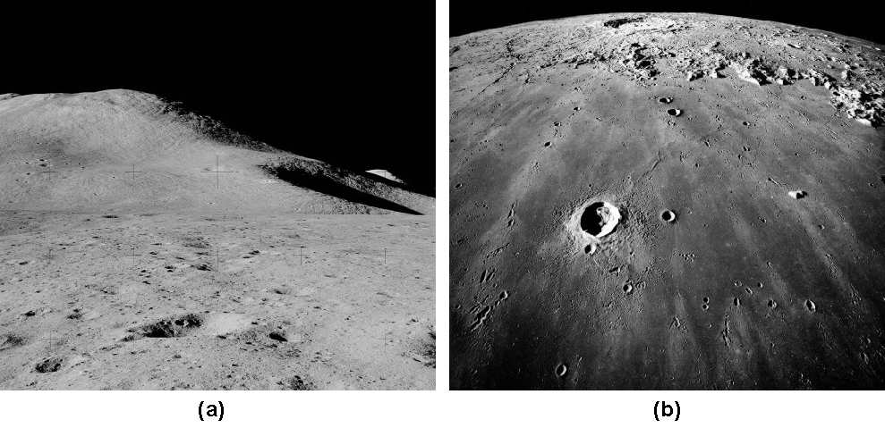 Part A is a photograph of a Lunar Mountain. The smooth contour of Mt. Hadley is seen against the inky blackness of space. Part B is a photograph of a Lunar Mare. Image of Mare Imbrium taken from Lunar orbit showing the smooth, little cratered surface typical of maria.
