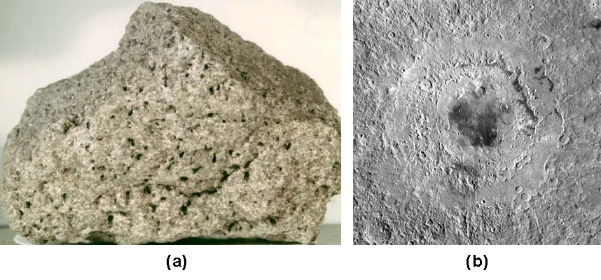 Part A is a photograph of a Lunar Rock. A sample of basaltic rock from the Lunar surface is shown, with the many holes left by gas bubbles giving the rock the appearance of a sponge. Part B is an image of Mare Orientale. A huge impact basin not seen directly from Earth, with many terraced rings extending out about 500 km from the flat, lava-filled central basin.