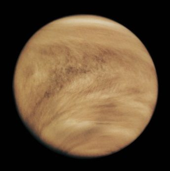 Image of Venus in ultraviolet light. Only cloud-tops, which cover the entire planet, are visible in this image.
