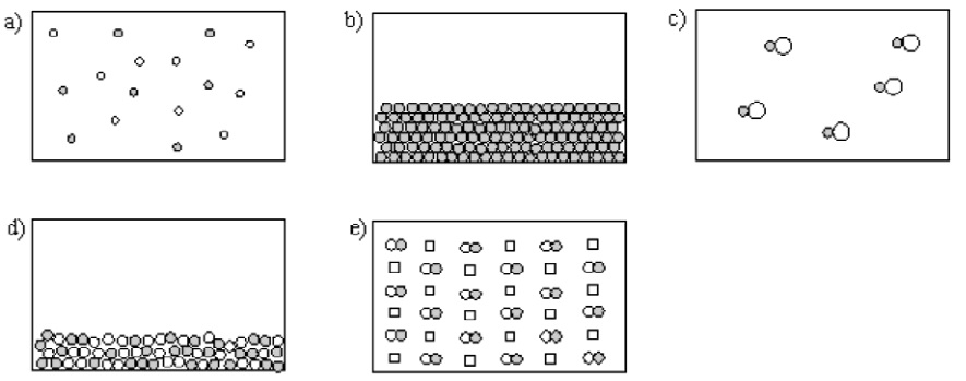 Choice A shows some scattered light and dark dots. Choice B shows tightly stacked dark dots. Choice C shows scattered partnerships of dark dots attached to light dots. Choice D shows stacked light and dark dots. Choice E shows uniformly spaced squares and partnerships of light and dark dots.