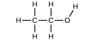 A Lewis Structure is shown. An oxygen atom is bonded to a hydrogen atom and a carbon atom. The carbon atom is bonded to two hydrogen atoms and another carbon atom. That carbon atom is bonded to three more hydrogen atoms. There are a total of two carbon atoms, six hydrogen atoms, and one oxygen atoms.