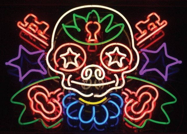 This figure shows a colorful neon sign. The tubes are bent into various shapes.