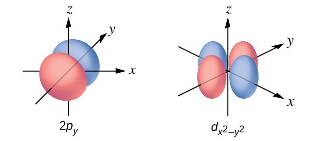 This figure contains two diagrams. The first is of a 2 p subscript y orbital. The second is of a d subscript x squared minus y squared orbital. The first diagram has two spherical shapes joined at the origin when oriented along the y axis on an x y and z coordinate plane. The second diagram shows four ellipsoid lobes with ends centered around the origin. Two of these ellipsoid lobes are oriented along the x axis and two are oriented along the y axis on the x y and z coordinate plane.