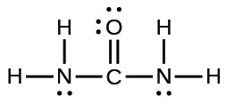 A Lewis structure is shown. A nitrogen atom is single bonded to two hydrogen atoms and a carbon atom. The carbon atom is single bonded to an oxygen atom and one nitrogen atom. That nitrogen atom is then single bonded to two hydrogen atoms. The oxygen atom has two lone pairs of electron dots, and the nitrogen atoms have one lone pair of electron dots each.