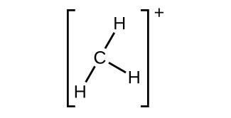 A Lewis structure shows a carbon atom single bonded to three hydrogen atoms. The whole structure is surrounded by brackets and has a superscripted positive sign.