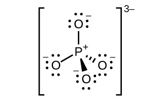 A Lewis structure is shown in which a phosphorus atom is single bonded to four oxygen atoms, each of which has three lone electron pairs and a negative sign.