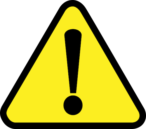 Yellow triangle sign of black exclamation mark