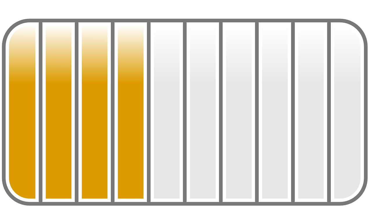 Rounded rectangle divided into ten vertical sections. The left four are shaded yellow, while the right 6 are empty.