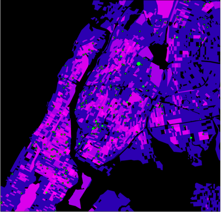 Map of New York City against black backdrop, which is a smaller subset of previous map. Compared to previous map, this one also shows hues of purple and pink, though the pink is much more prominent in the map overall. Green dots to show guns found during police stops are significantly bigger and more prominent across the map.