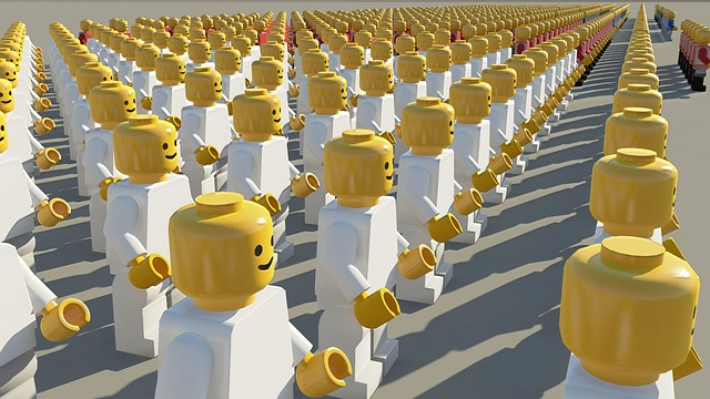 rows of Lego figurines