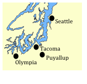 A map of the Puget Sound. Seattle, Tacoma, Puyallup, and Olympia are marked.