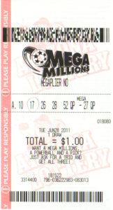 Picture of a Mega Millions lottery ticket showing the 6 selected numbers.
