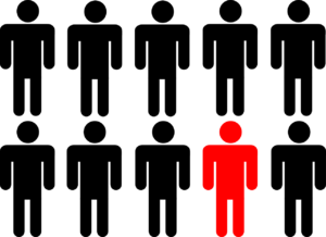 10 black stick figure men, with one colored red.