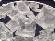 The sodium chloride forms cubes with an X shape in the middle