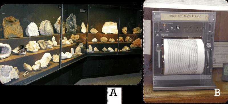 Uma figura de duas partes. Parte A: Um expositor de vidro de vários tipos de minerais. Parte B: Um sismógrafo. Um rolo de papel inserido em um dispositivo que registra a intensidade dos terremotos.