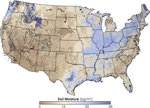 Umidade do solo nos EUA. A umidade está concentrada em torno do canto noroeste, do parque Yellowstone, do nordeste, do centro do Texas e do sul da Louisiana. Os estados ocidentais têm umidade particularmente baixa.