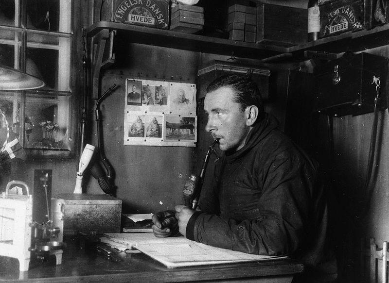 Alfred Wegener smoking at a desk