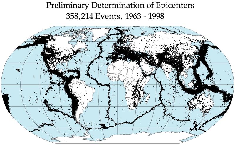 Quake epicenters.