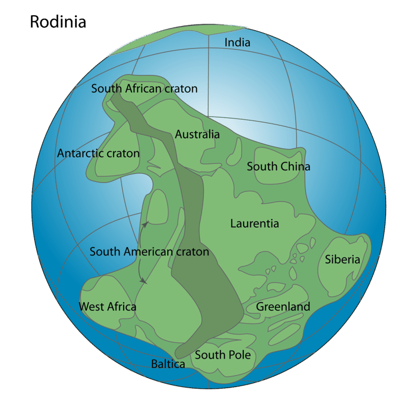 Rodinia, a supercontinent that includes West Africa, the South American craton, Antarctic craton, South African craton, Australia, South China, Laurentia, Siberia, and Greenland.