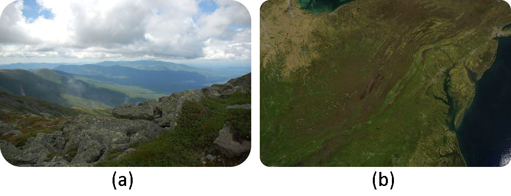 A two part image. Part A: The Appalachian Mountains in New Hampshire. Part B: Satellite map of the Appalachian Mountains