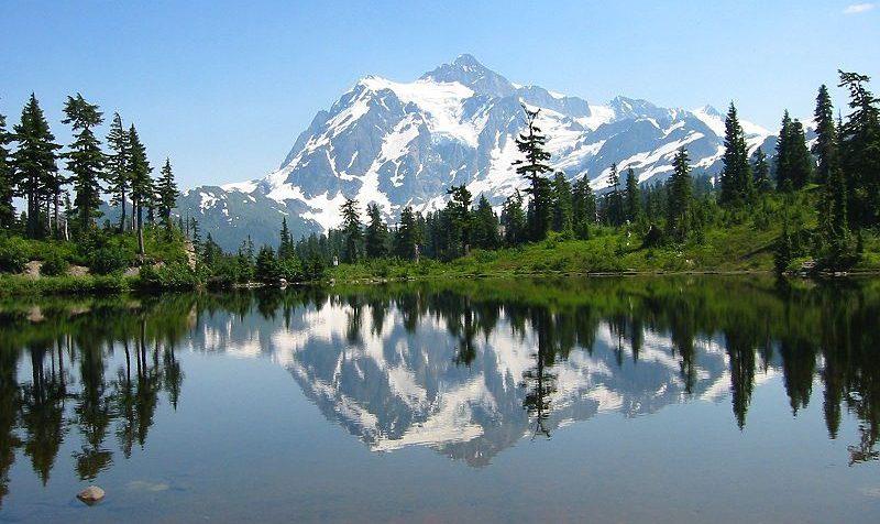 Um, pico montanha, refletido dentro, um, lago, cercado, por, árvores
