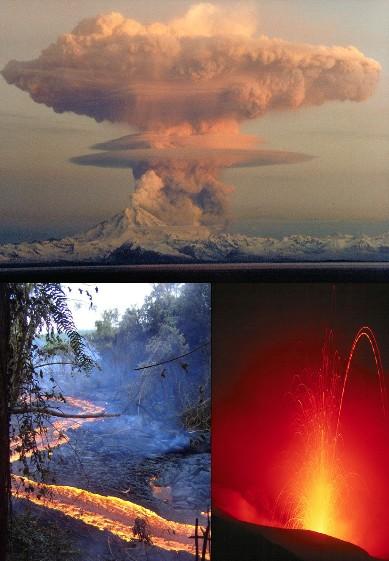 Mosaico de algumas das estruturas eruptivas formadas durante a atividade vulcânica: uma coluna de erupção pliniana, fluxos pahoehoe havaianos e um arco de lava de uma erupção estromboliana.