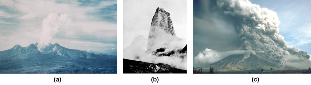Parte a mostra fluxos piroclásticos descendo o flanco sudeste do Vulcão Mayon nas Filipinas. A parte b mostra uma coluna vulcânica no cume do Monte. Pelee. Parte c mostra Monte Lamington, Nova Guiné, visto aqui em erupção do norte no final de 1951.