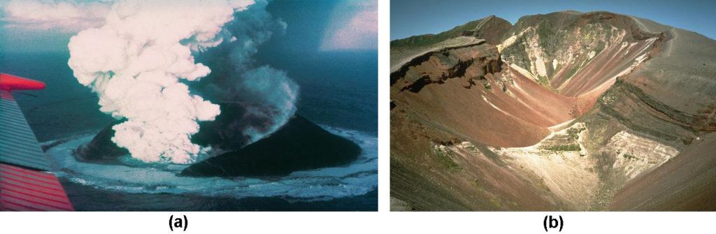 Uma imagem de duas partes. A parte a mostra Surtsey em 30 de novembro de 1963, 16 dias após o início da erupção. A parte b mostra um grande sistema de fissuras produzido durante uma grande erupção explosiva em Tarawera em 1886, é uma das características mais dramáticas do enorme Centro Vulcânico de Okataina.