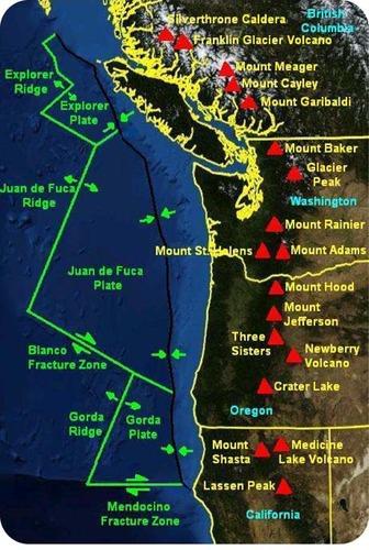 Mapa de vulcões na Cordilheira das Cascatas