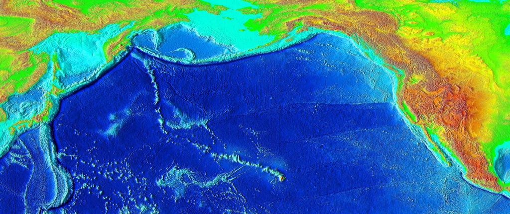 O rastro de montanhas submersas criado como a placa tectônica se movia através do hotspot do Havaí ao longo de milhões de anos, conhecido como a cadeia de montanhas submarinas Imperador Havaiano, ou o Imperador Seamounts.
